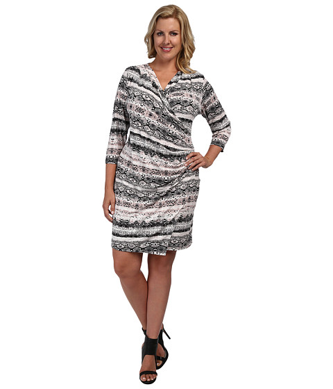 Calvin Klein Plus - Plus Size 3/4 Sleeve Side Ruched Dress (Pink/Charcoal) - Apparel