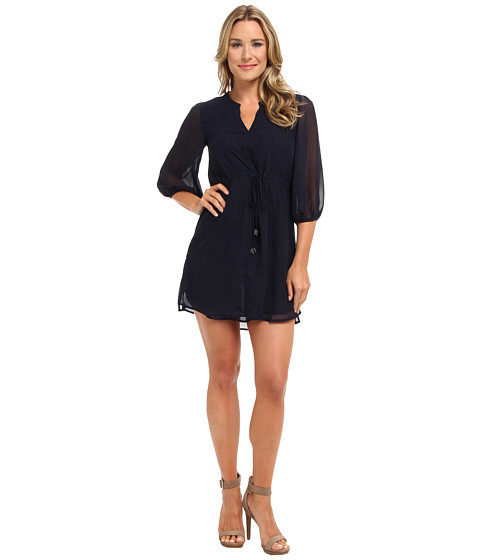 Shop Christin Michaels online and buy Christin Michaels Shyloh Chiffon Dress with Waist Tie Navy Online - Christin Michaels - Shyloh Chiffon Dress with Waist Tie (Navy) - Apparel: Get dressed up to dress down in this pretty number. ; Sheer outer layer brings an airy feel. ; V-neckline with split style. ; Three-quarter blouson sleeves. ; Drawstring tie at natural waist with beaded tassels. ; Straight hemline at a flirty length. ; 100% polyester. ; Dry clean only. ; Imported. Measurements: ; Length: 36 in ; Product measurements were taken using size SM. Please note that measurements may vary by size.
