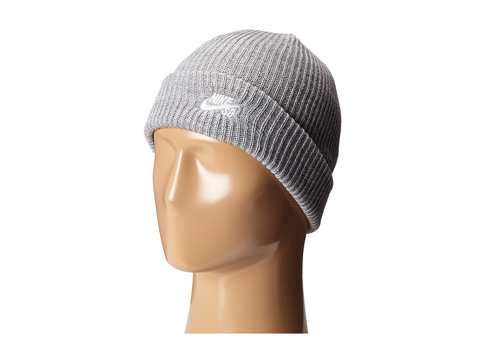 Nike - Fisherman Beanie (Dark Grey Heather/White) Beanies