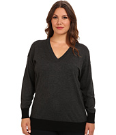 MICHAEL Michael Kors - Plus Size L/S Colorblock V-Neck Sweater
