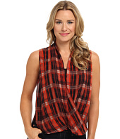 Vince Camuto - S/L Plaid Filters Wrap Shirttall Blouse