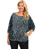 MICHAEL Michael Kors - Plus Size Mixed Print Stud Neck Top