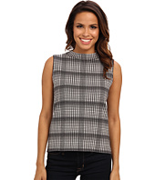 Vince Camuto - S/L Plaid Jacquard Mock Neck Sweater