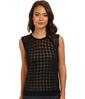 Vince Camuto - S/L Crew Neck Burnout Houndstooth Sweater