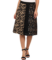 Vince Camuto - Mixed Leopard Side Zip Pleated Skirt