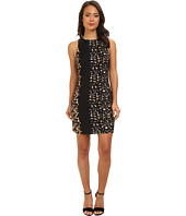 Vince Camuto - Mixed Leopard S/L Dress w/ Pleather Shouldr