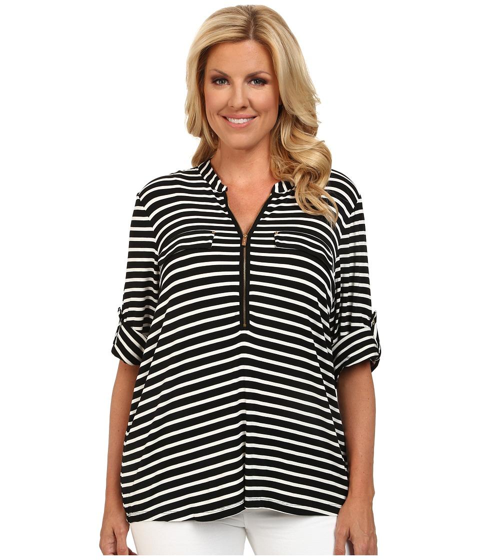 Calvin Klein Plus - Plus Size Zip Front Roll Sleeve Top