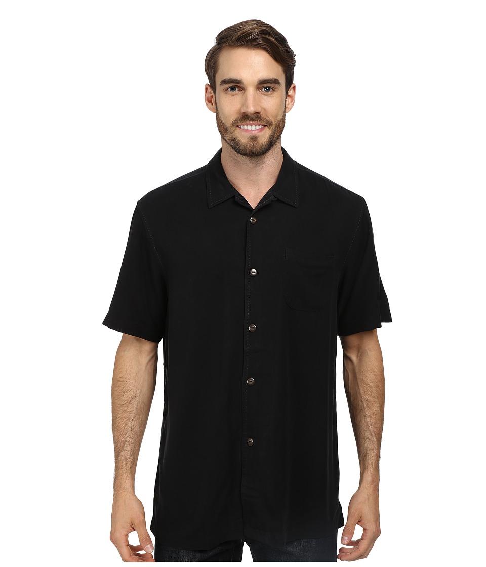 Tommy Bahama - Island Modern Fit Hamilton SS Camp Shirt Black Mens Short Sleeve Button Up $110.00 AT vintagedancer.com