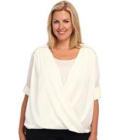 Calvin Klein Plus - Plus Size V-Neck Drape Roll Sleeve Top