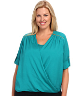 Calvin Klein Plus - Plus Size V-Neck Drape Roll Sleeve Top