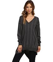Vince Camuto - L/S V-Neck Pinstrp Asymmetrical Hem Sweater