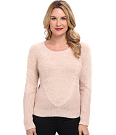 Vince Camuto - L/S Eyelash Yarn Sweater w/ Contrast Sleeve