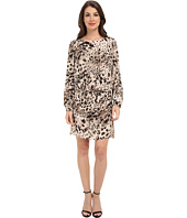 Vince Camuto - L/S Animal Fresco Center Fold Dress