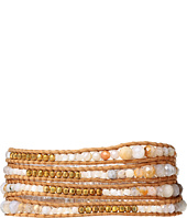 Chan Luu - 32' African Opal/Beige Wrap with Gold Plated Beads Bracelet