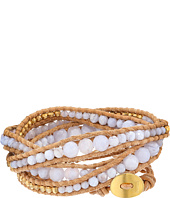 Chan Luu - 32' Blue Lace Agate/Beige Wrap with Gold Plated Beads Bracelet