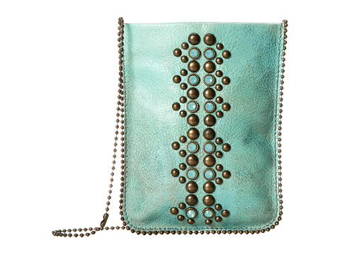 Leatherock Cell Pouch/Crossbody - Turquoise/Amber