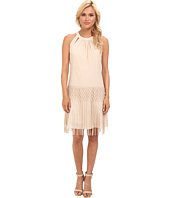 Vince Camuto - Bodycon Crepe Dress w/ Crochet Fringe Detail