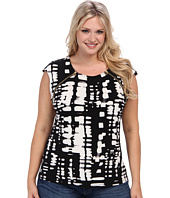 Calvin Klein Plus - Plus Size Short Sleeve Top w/ Zipper Pulls