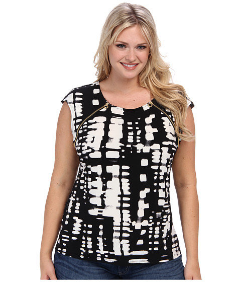 Calvin Klein Plus Plus Size Short Sleeve Top w/ Zipper Pulls (Black Multi) Women's Blouse