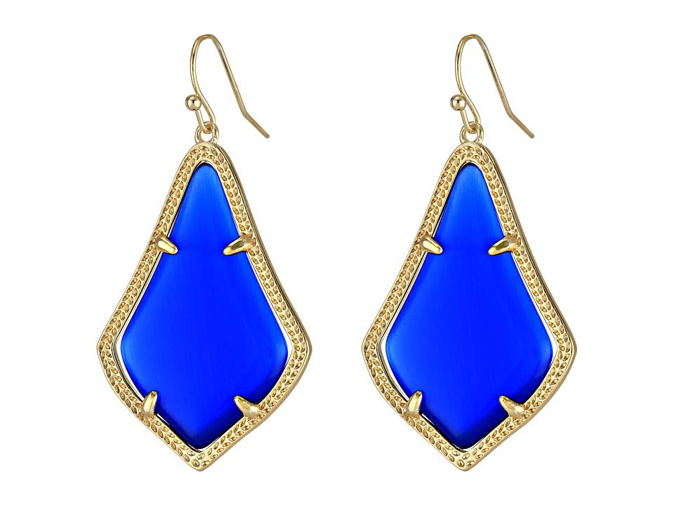 Kendra Scott Alex Earring Gold/Cobalt Cats Eye Earring