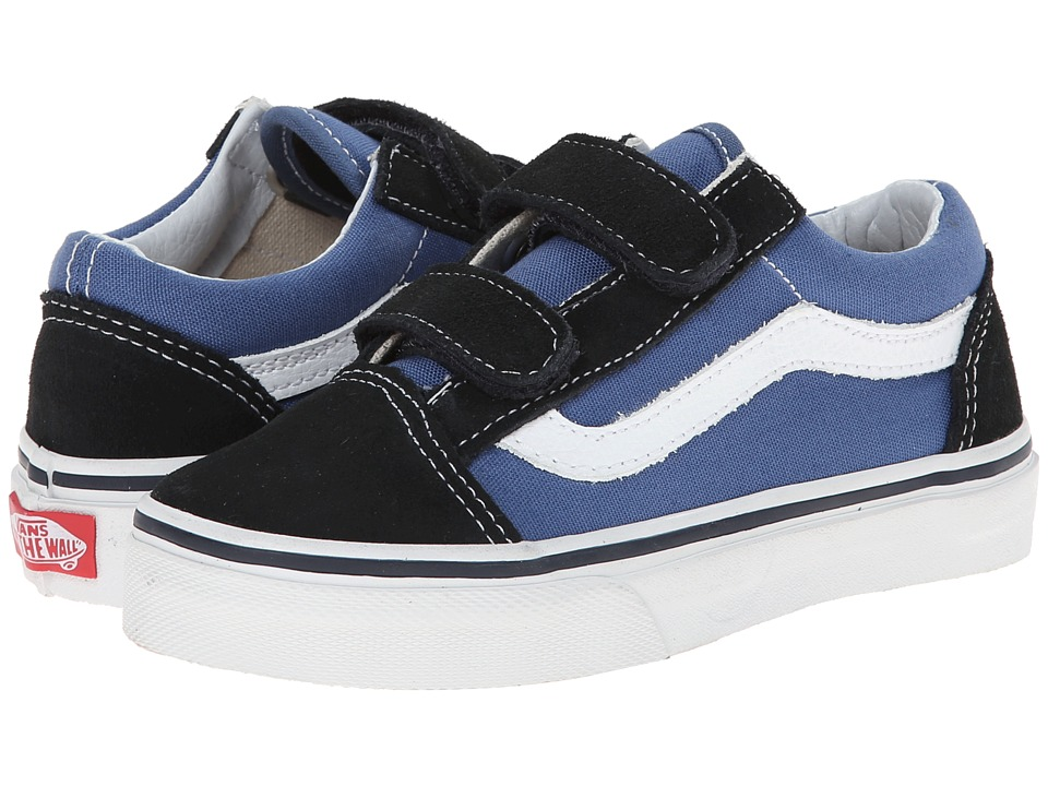Vans Kids Old Skool V (Little Kid/Big Kid) (Navy/True White) Boys Shoes