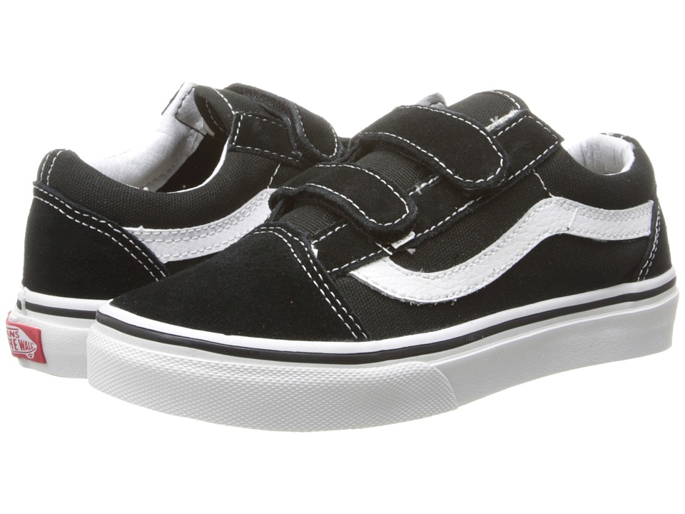 Vans Kids Old Skool V (Little Kid/Big Kid) (Black/True White) Boys Shoes