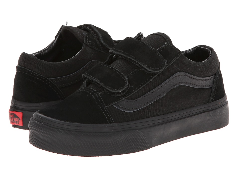 Vans Kids Old Skool V (Little Kid/Big Kid) (Black/Black) Boys Shoes