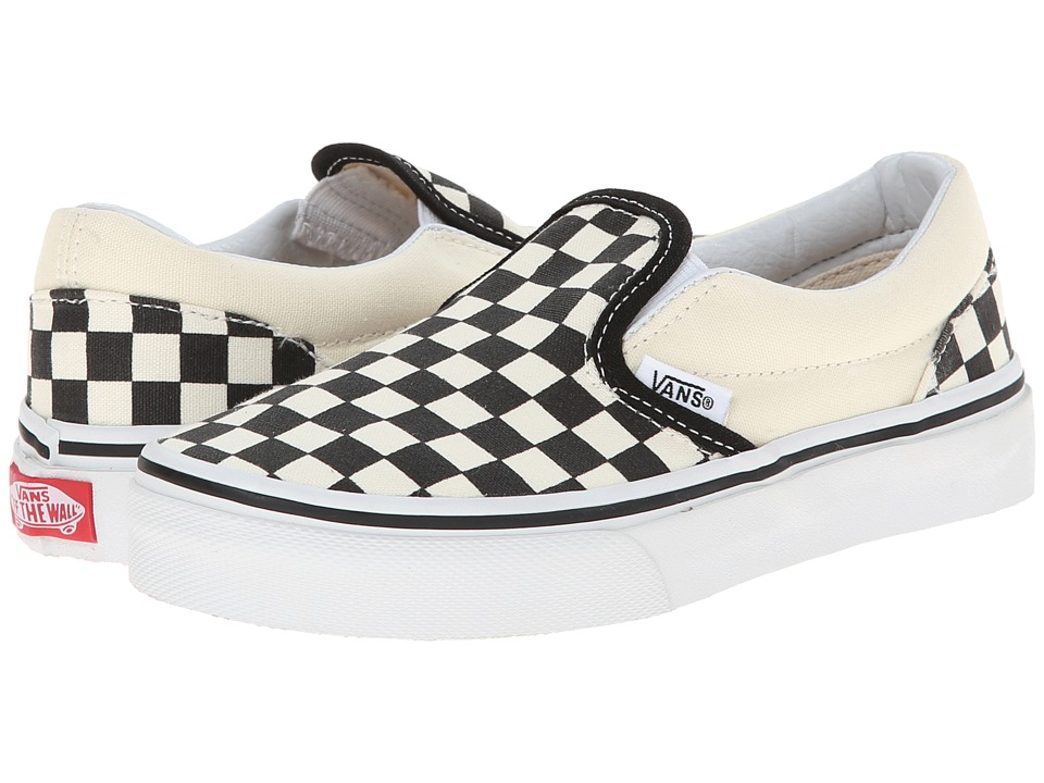 Vans Kids Classic Slip-On (Little Kid/Big Kid) ((Checkerboard) Black/White) Kids Shoes