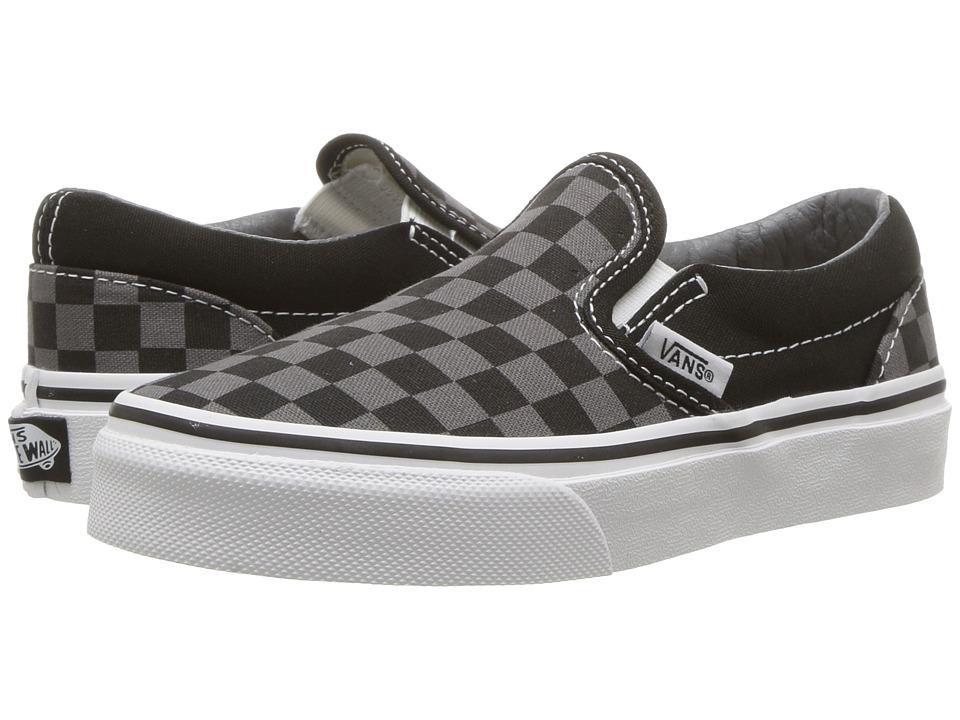 Vans Kids Classic Slip-On (Little Kid/Big Kid) ((Checkerboard) Black/Pewter) Kids Shoes