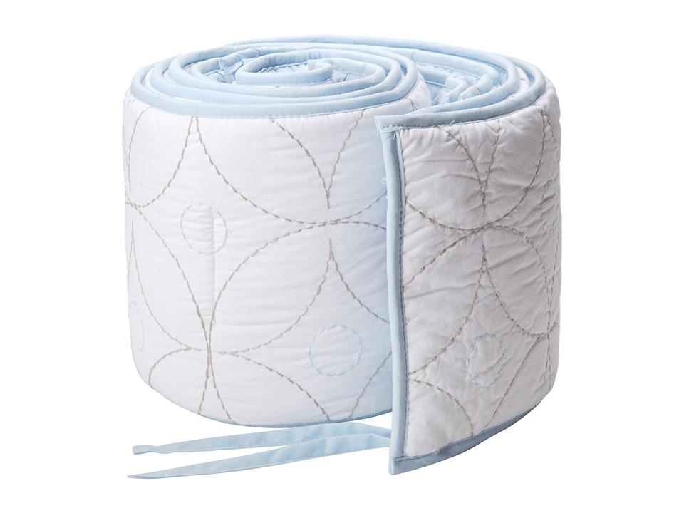 lolli LIVING Living Textiles Cotton Poplin Qulited Bumper White/Blue Sheets Bedding
