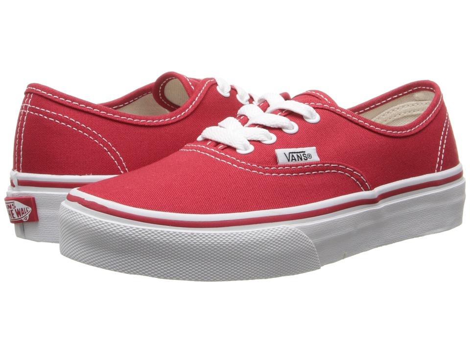 Vans Kids Authentic (Little Kid/Big Kid) (Red/True White) Kids Shoes