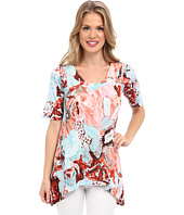 Nally & Millie - Printed Elbow Sleeve High Low Tunic