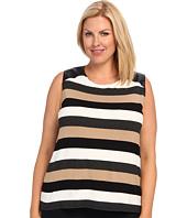 Vince Camuto Plus - Plus Size S/L Chalk Stripe Top W/ Pleather Shoulder