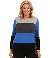 Vince Camuto Plus - Plus Size L/S Colorblock Crewneck Sweater