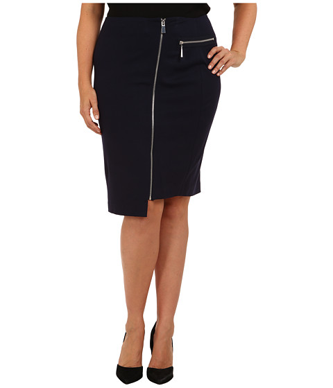 Vince Camuto Plus Plus Size Knee-Length Asymmetrical Front Zip Skirt (Navy Stone) Women's Skirt