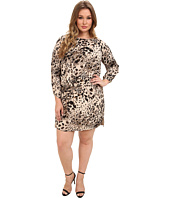 Vince Camuto Plus - Plus Size L/S Animal Fresco Center Fold Dress