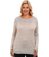 Vince Camuto Plus - Plus Size L/S Stripe Crewneck Sweater