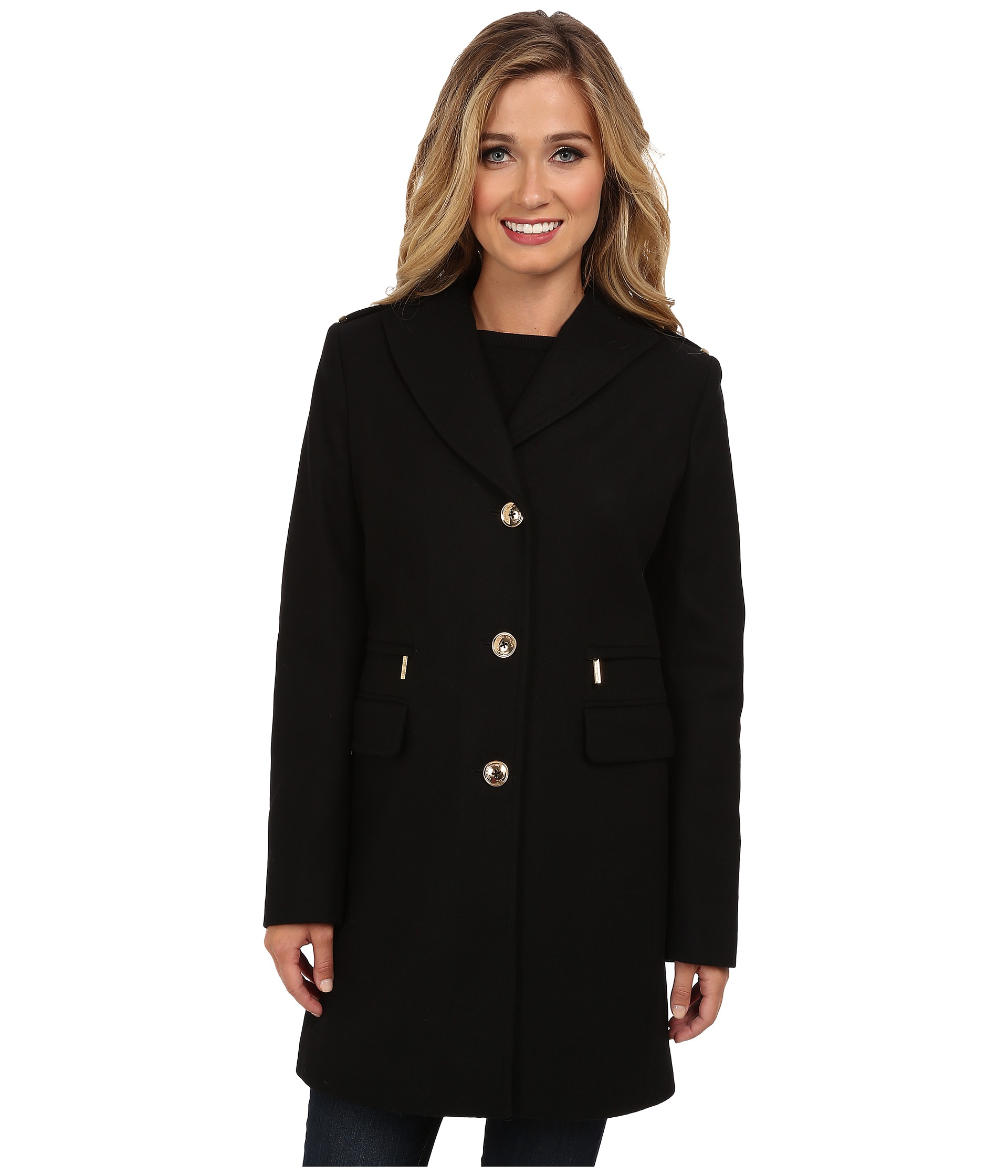 Michael Michael Kors Single Breast Zip Pocket Wool Black   Shipped
