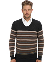 Culture Phit - 100% Cashmere Stripe V-Neck Sweater