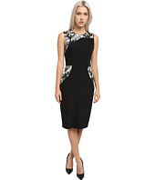 Vera Wang - Bi-Stretch Crepe Sheath Dress w/ Floral Insets