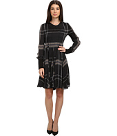 Vera Wang - Tartan Satin Chiffon L/S Trapeze Dress