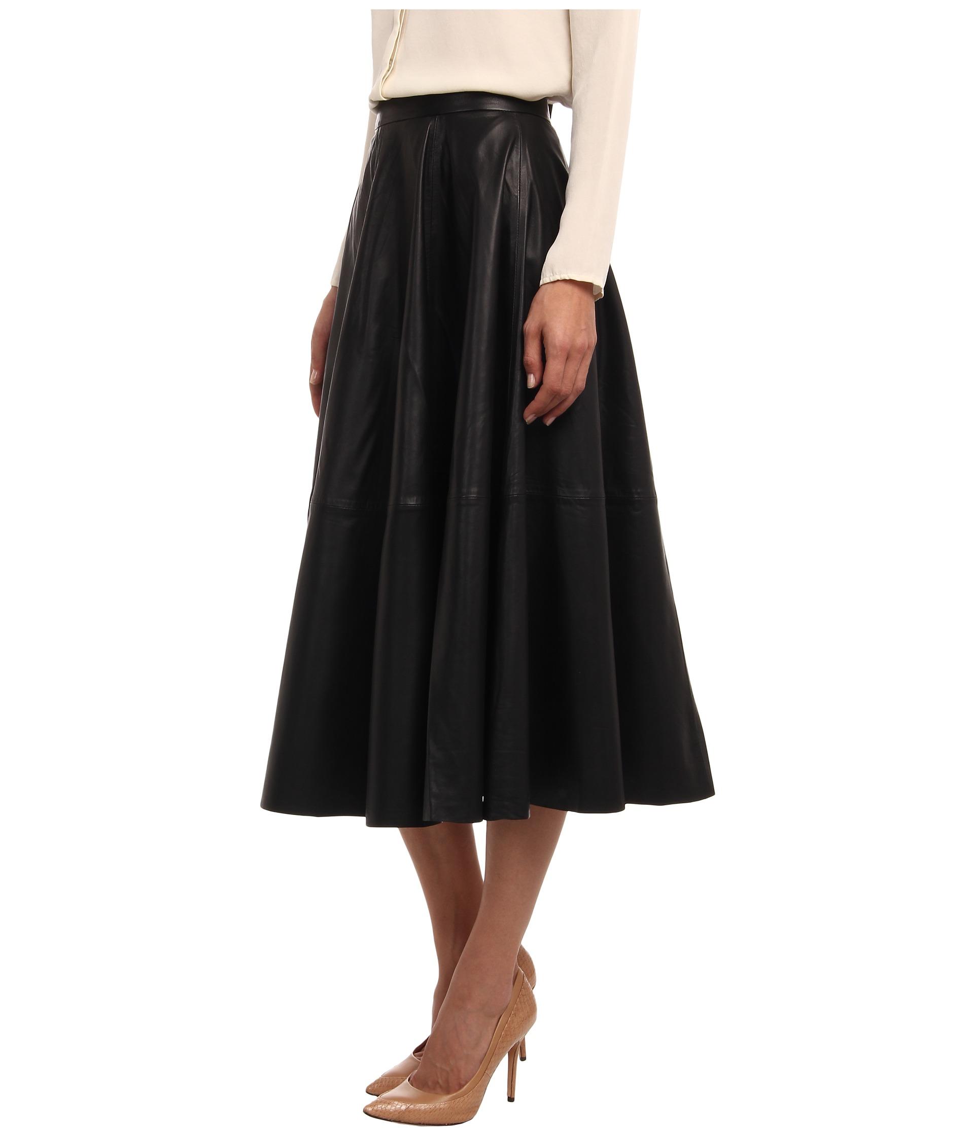 vera wang lambskin leather circle skirt clothing