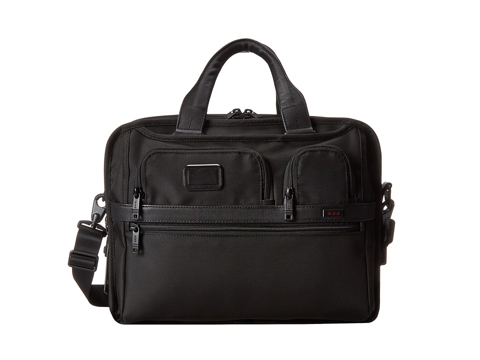 Tumi - Alpha 2 - Tumi T-Pass Expandable Laptop Brief (Black) Computer Bags