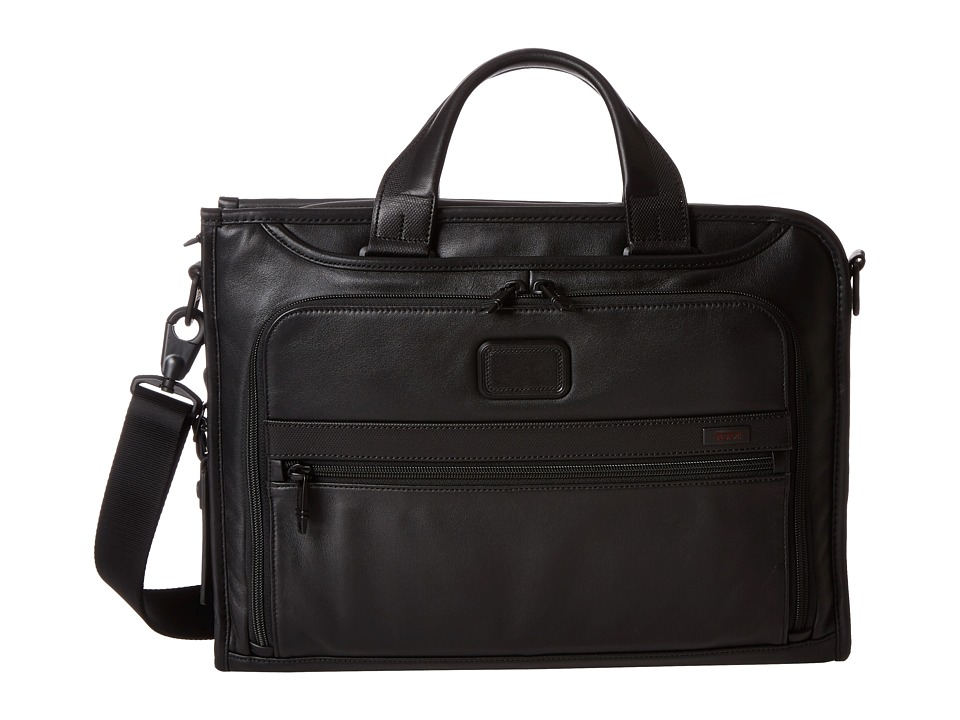 Tumi - Alpha 2 - Slim Deluxe Leather Portfolio (Black) Briefcase Bags