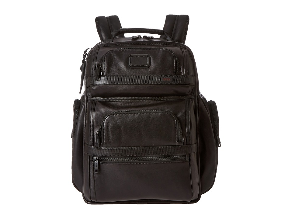 Tumi - Alpha 2 - Tumi T-Passtm Business Class Leather Brief Pack (Black) Briefcase Bags -  adult