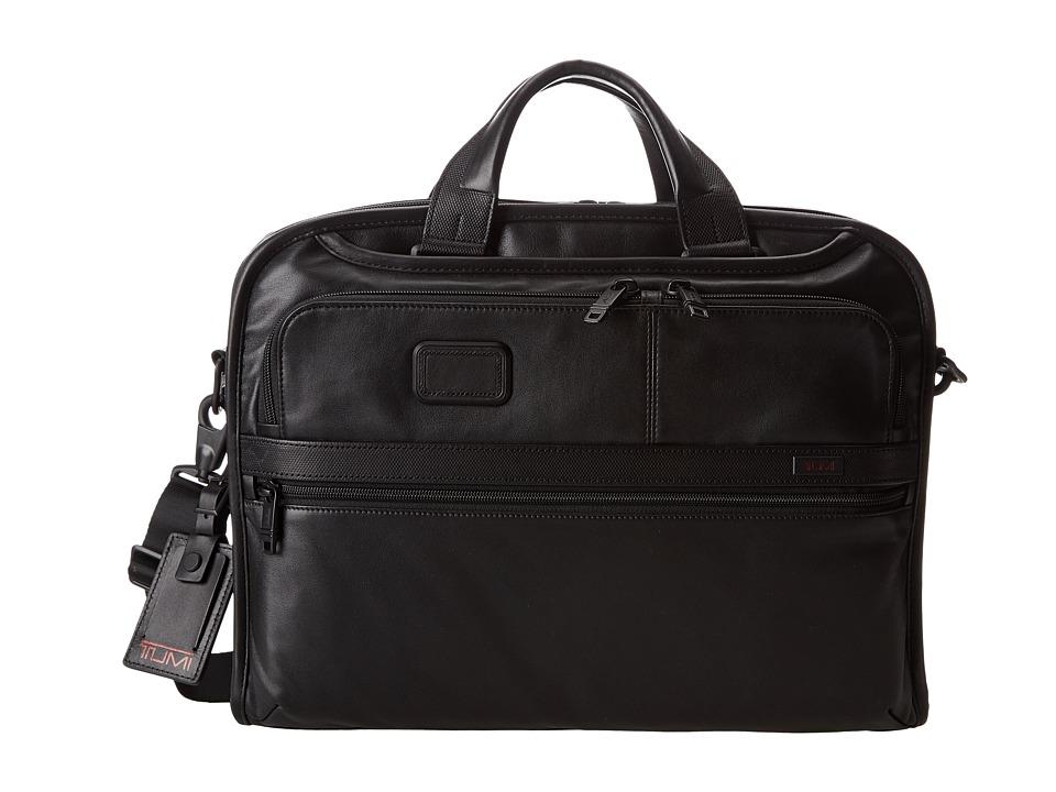 Tumi - Alpha 2 - Organizer Portfolio Leather Brief (Black) Briefcase Bags