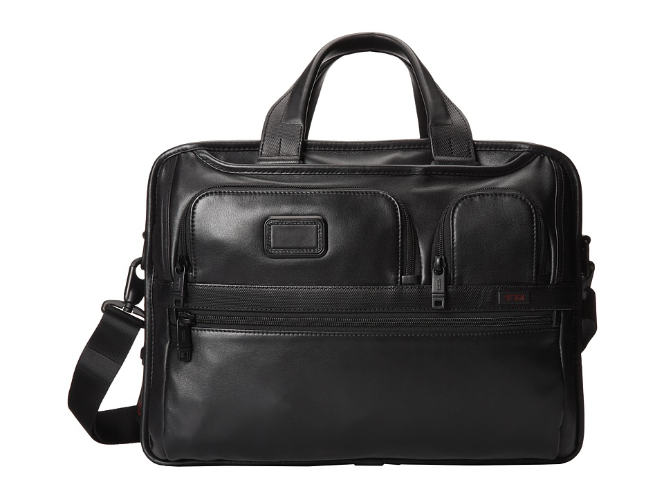Tumi - Alpha 2 - Expandable Organizer Laptop Leather Brief (Black) Computer Bags