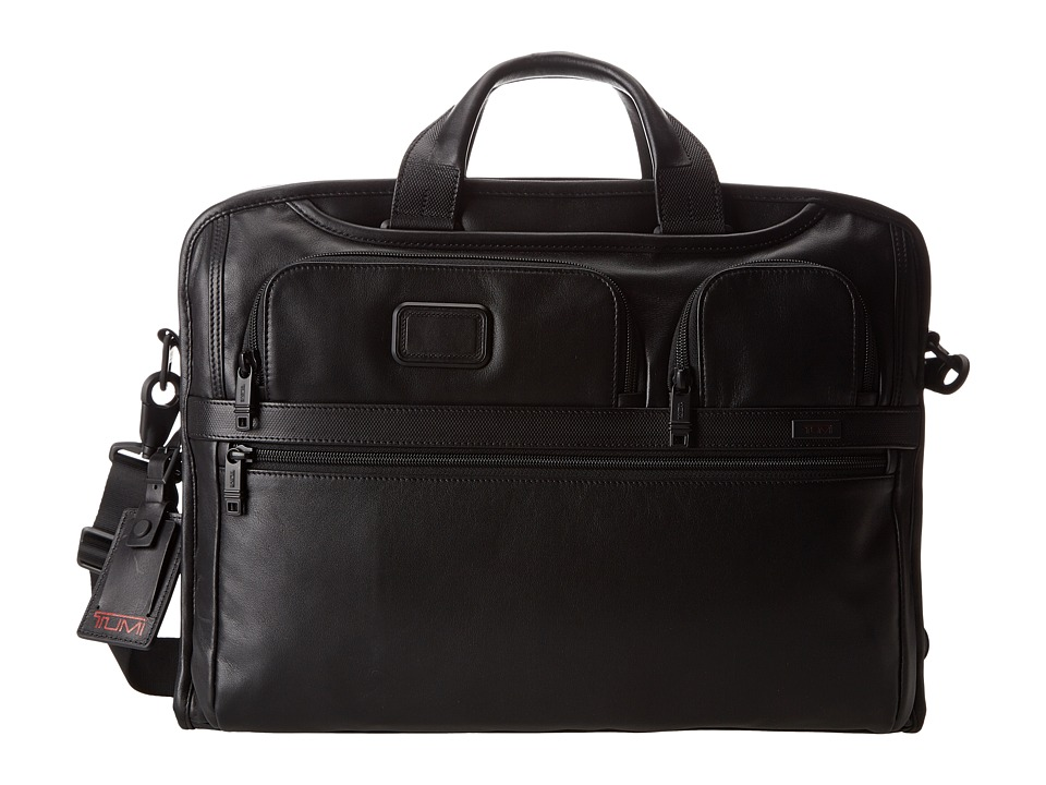 Tumi - Alpha 2 - Compact Large Screen Laptop Leather Brief (Black) Computer Bags