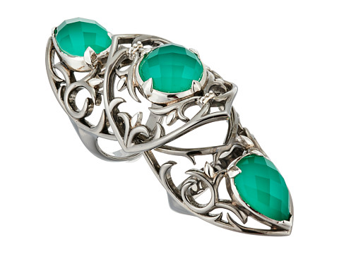 Stephen Webster Les Dents De La Mer Long Finger Ring - Black Rhodium & Chrysoprase Crystal Haze