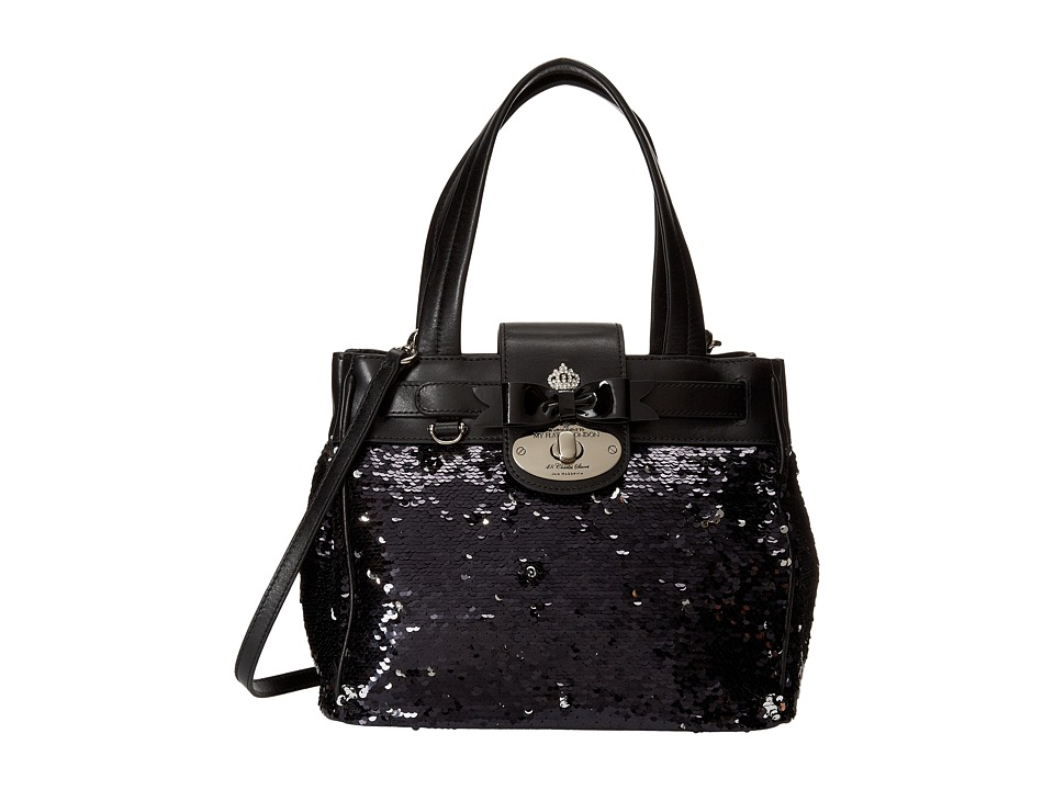 My Flat In London Luxeton Satchel Black/Silver Satchel Handbags